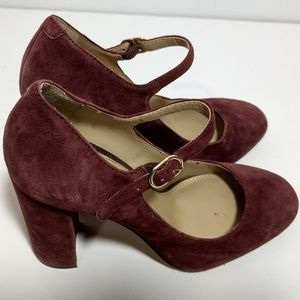 Vince Camuto Scarlotte Suede Burg Mary Jane Shoes